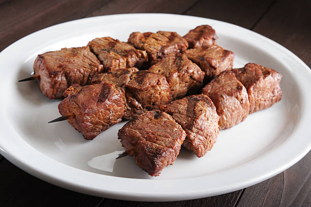 Grilled beef kebabs stock photo