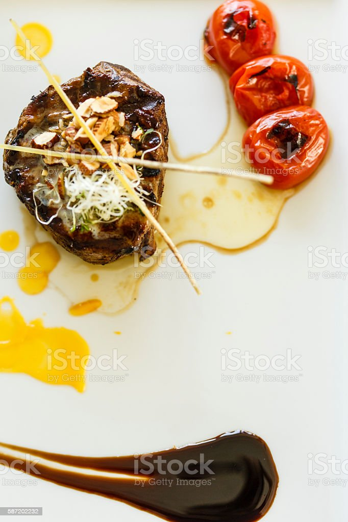 Grilled beef on a plate stock photo