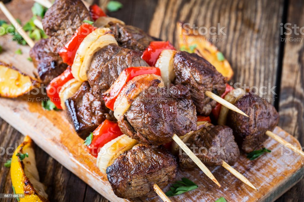 Grilled  beef shishkabab skewers stock photo