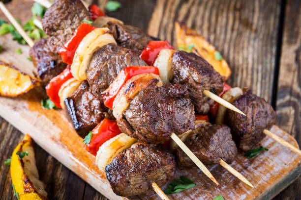 grilled  beef shishkabab skewers - beef stock pictures, royalty-free photos & images