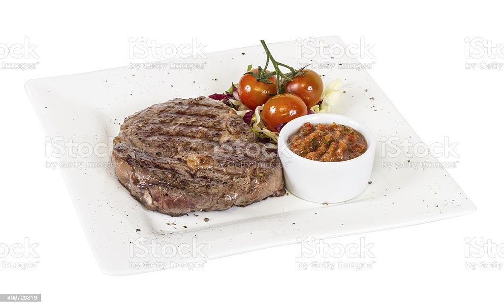 Grilled Beef Steak Isolated On a White Background royalty-free stock photo