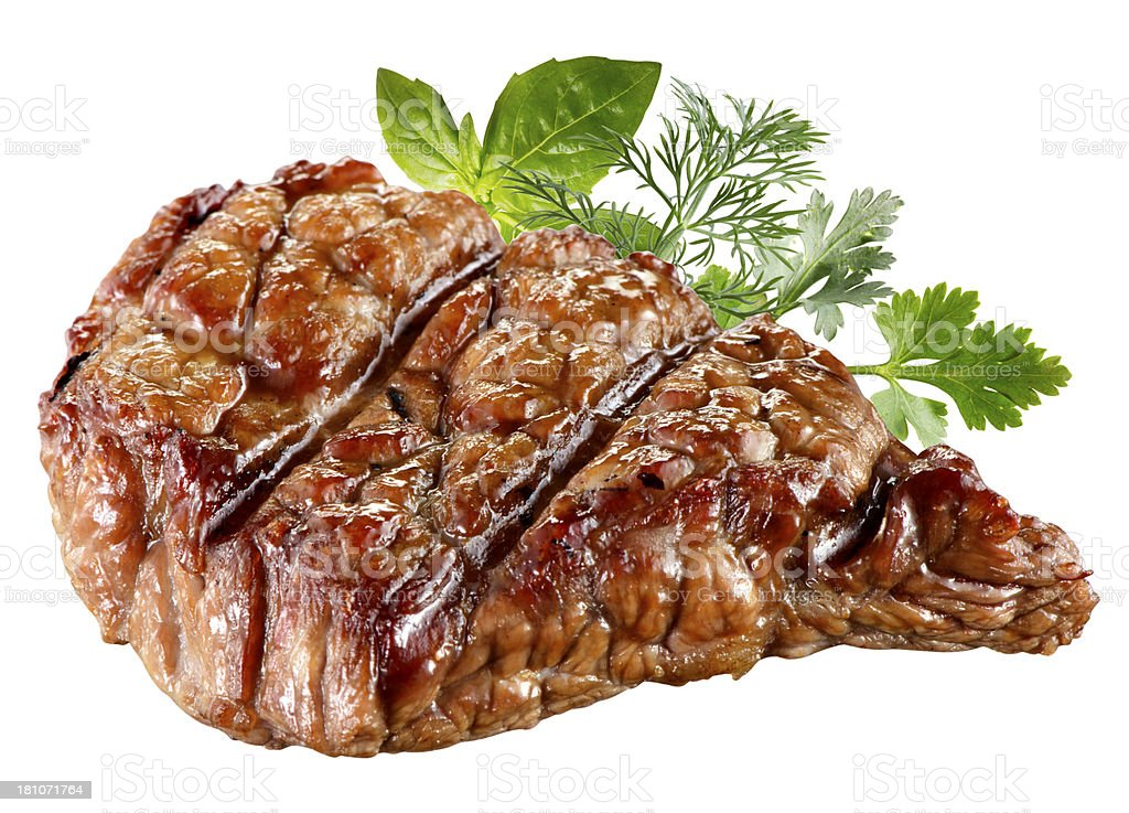 Grilled Beef Steak Isolated. With clipping path royalty-free stock photo