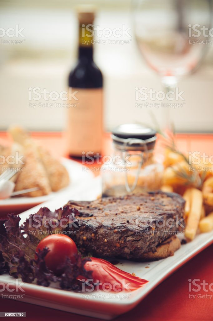 Grilled beef steak with side dish stock photo