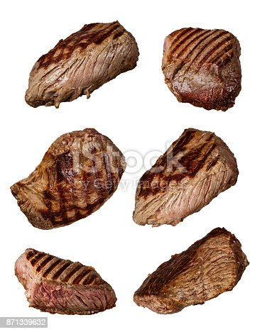 istock Grilled beef steaks in various kinds, collection on white background 871339632