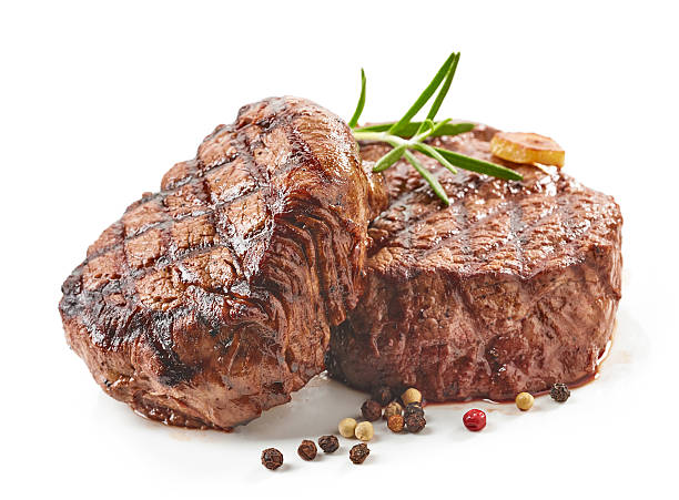 grilled beef steaks - foto de stock