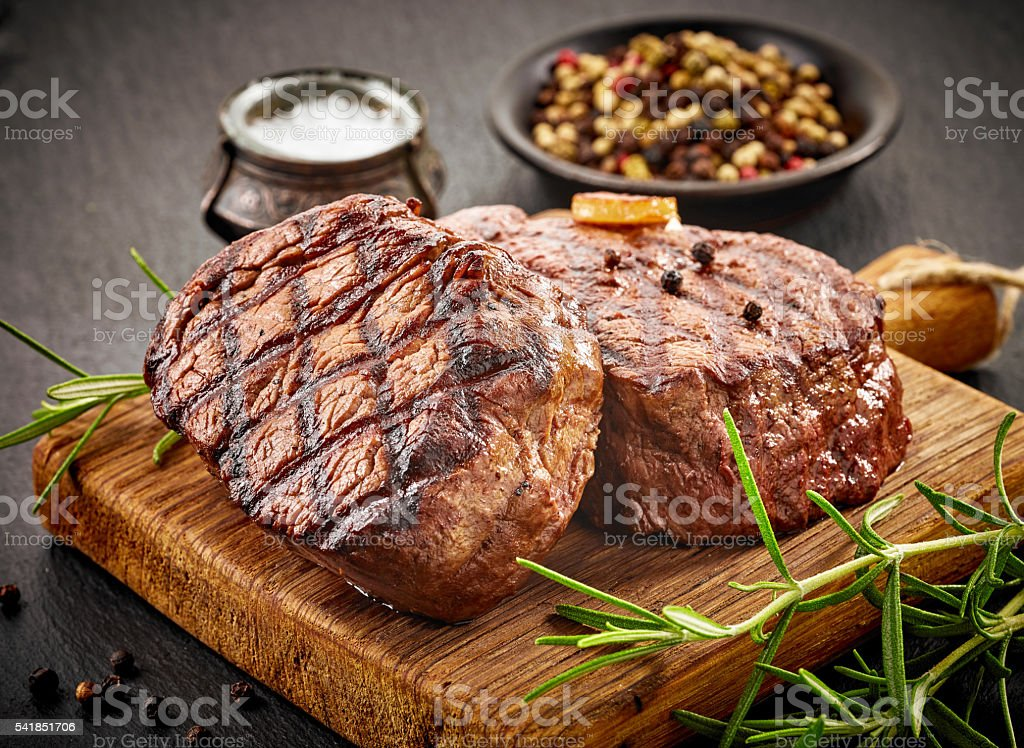 grilled beef steaks royalty-free stock photo