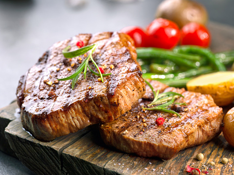 Grilled Beef Steaks Stock Photo - Download Image Now