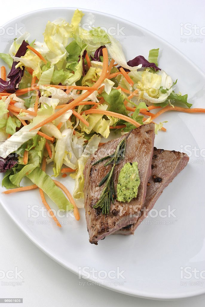 grilled beef with organic vegetable on a plate royalty-free stock photo