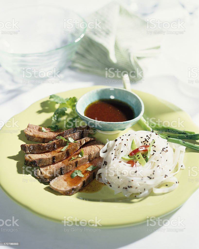 Grilled Beef with Sauce stock photo