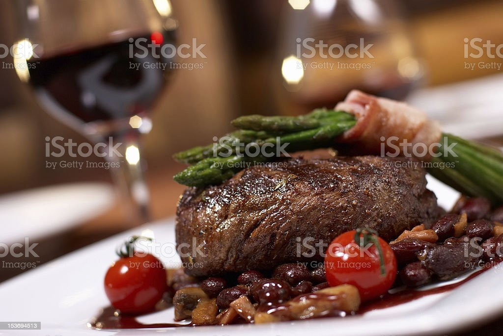 grilled beef with tomato stock photo