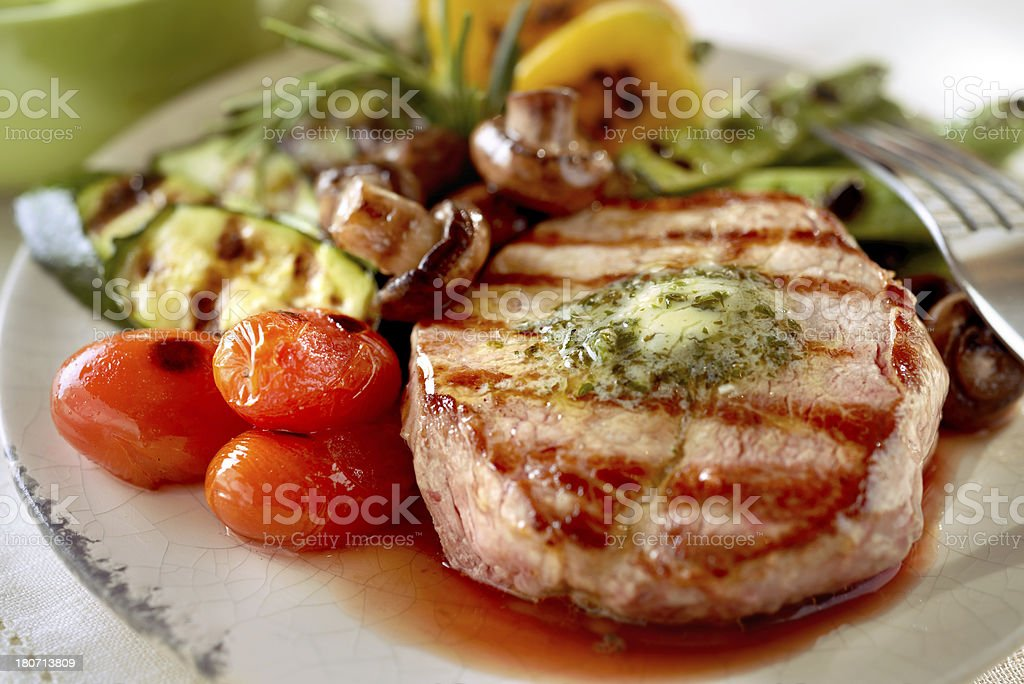 Grilled beef with vegetables royalty-free stock photo