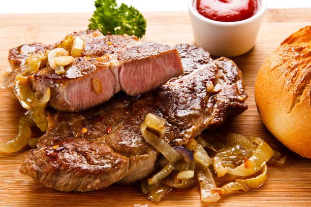 Grilled beefsteak and vegetables stock photo