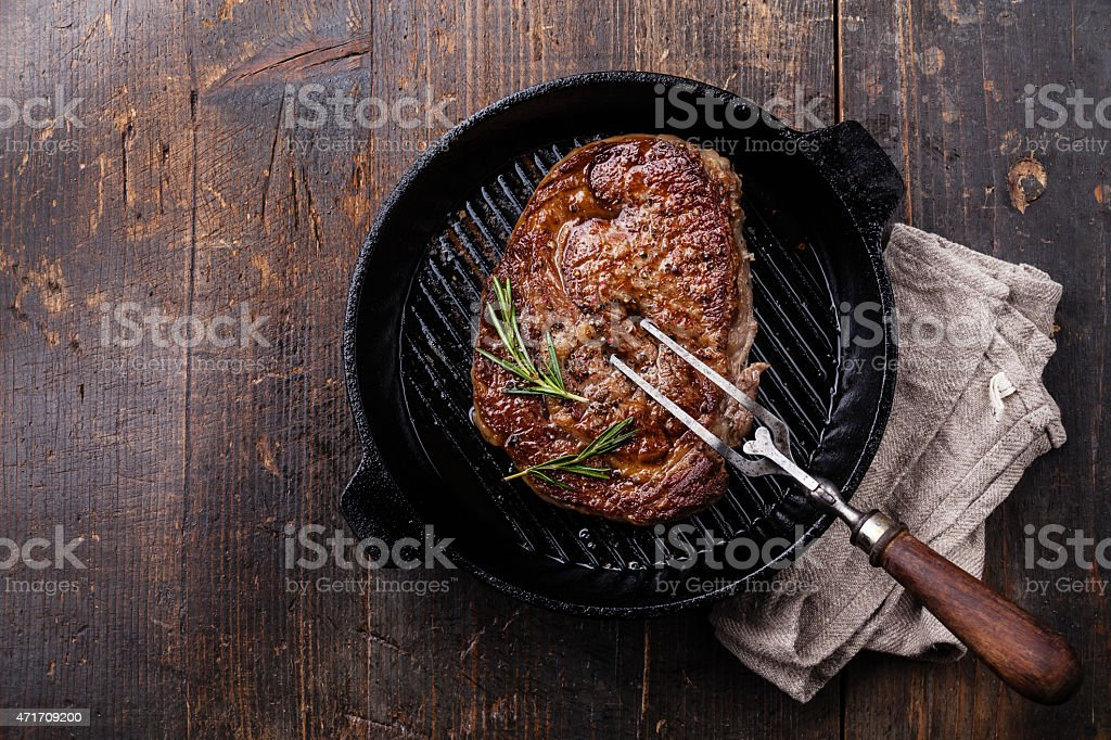 Grilled Black Angus Steak on pan stock photo