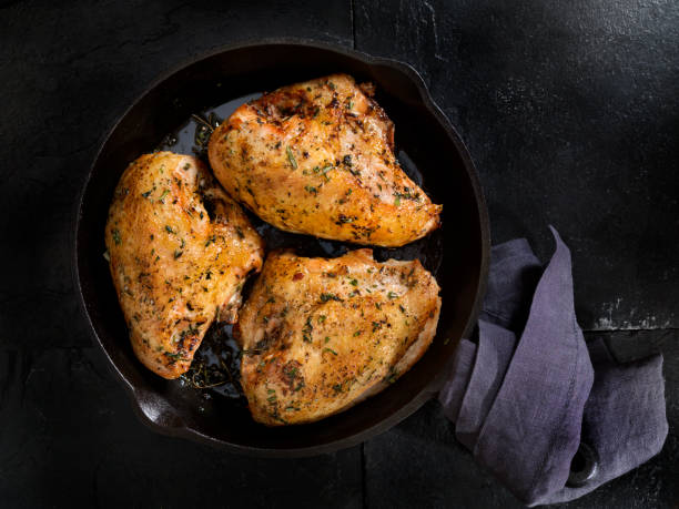 Grilled Bone in Chicken Breasts stock photo