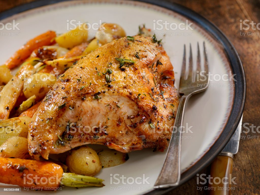 Grilled Bone in Chicken Breasts With Vegetables royalty-free stock photo