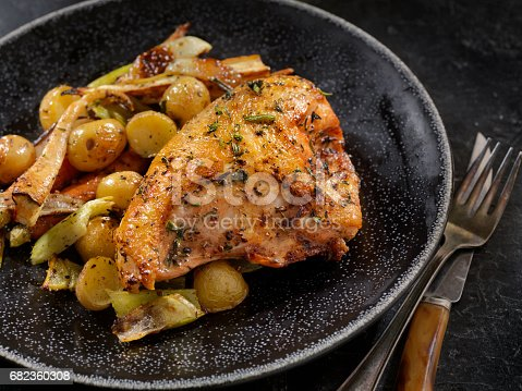 Grilled Chicken Breast with Potatoes, Carrots, Parsnips and Celery