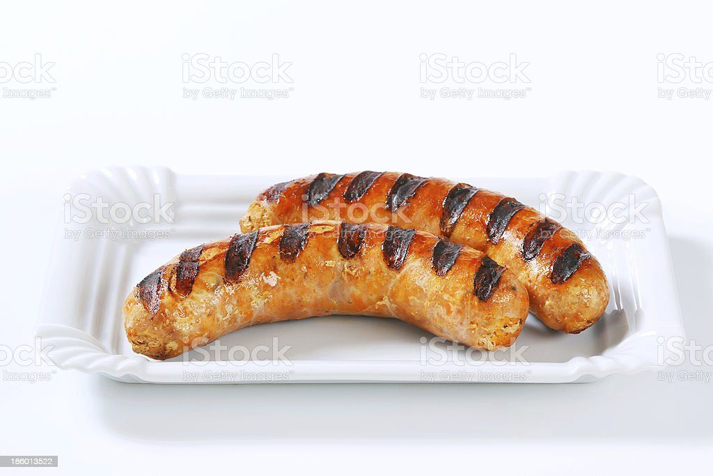 Grilled bratwursts royalty-free stock photo