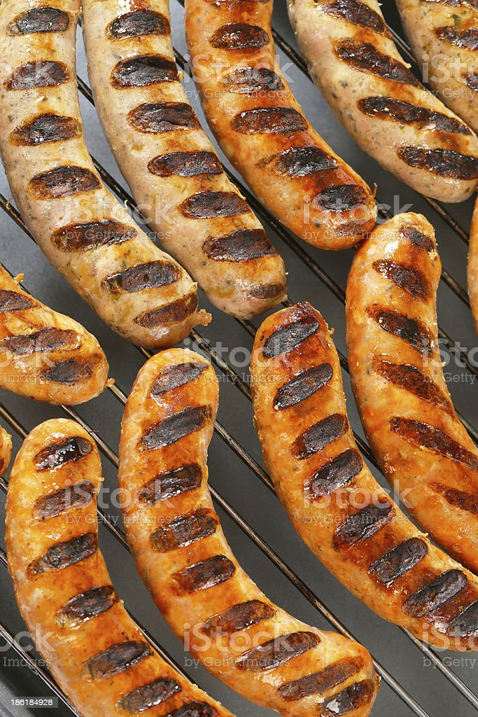 Grilled bratwursts royalty-free stock photo