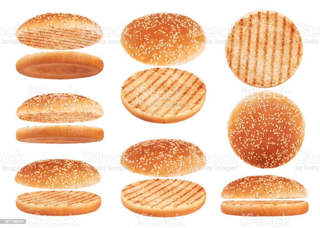 Grilled burger bun isolated on white background. stock photo