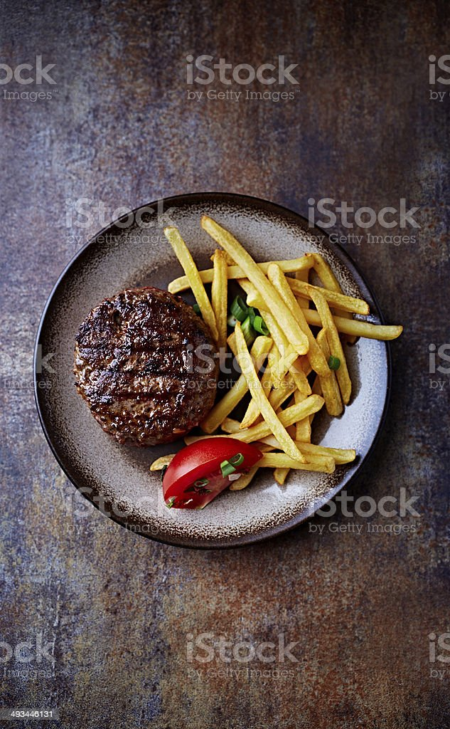 Grilled Burger with French Fries stock photo