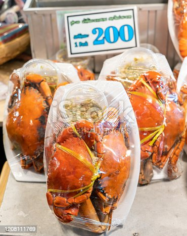 Steamed Crab Store Which is a famous product of Samut Songkhram province, Thailand