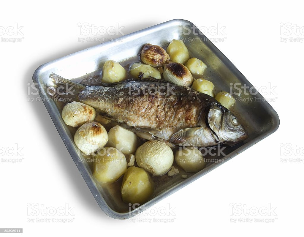 Grilled Carp fish with potatoes royalty-free stock photo