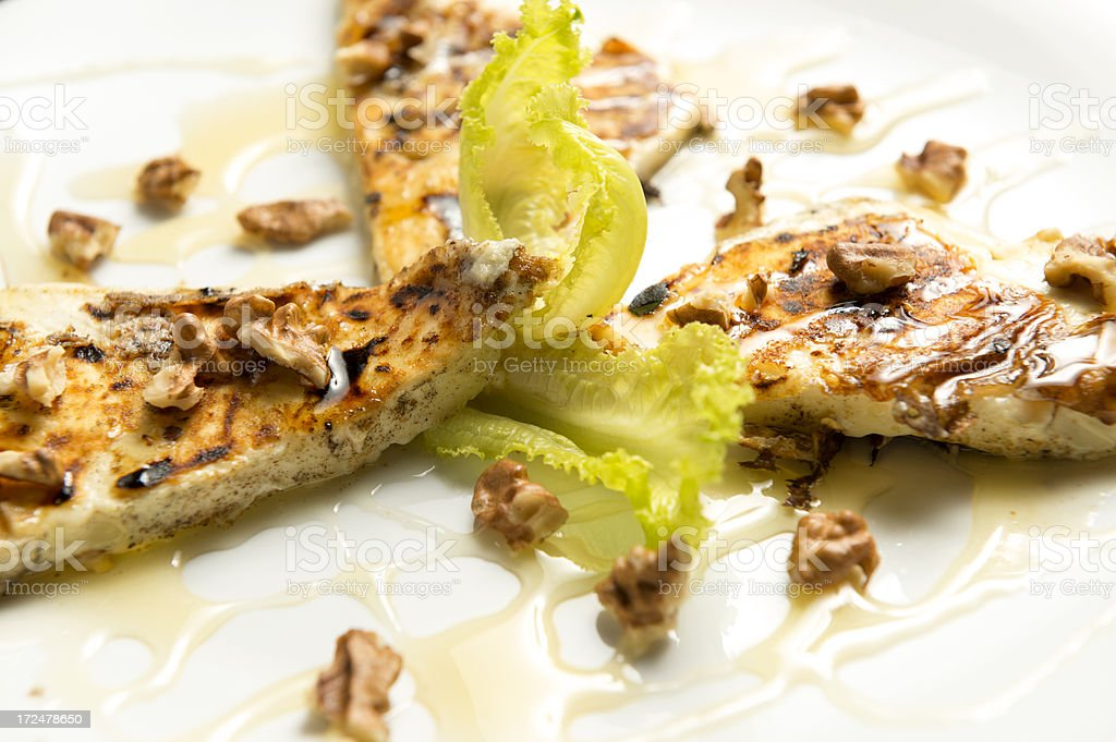 grilled cheese with honey and walnuts royalty-free stock photo