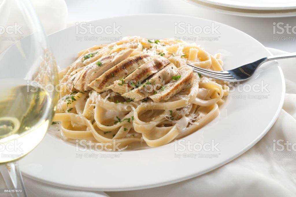 Grilled Chicken Alfredo stock photo