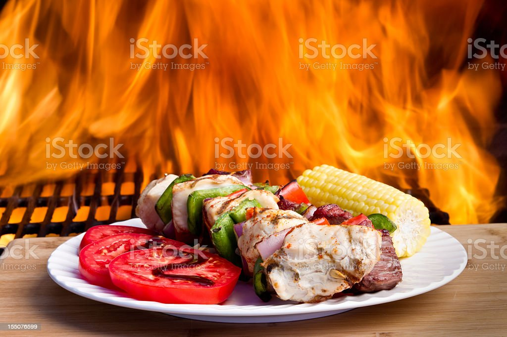 Grilled Chicken and beef Kebabs royalty-free stock photo
