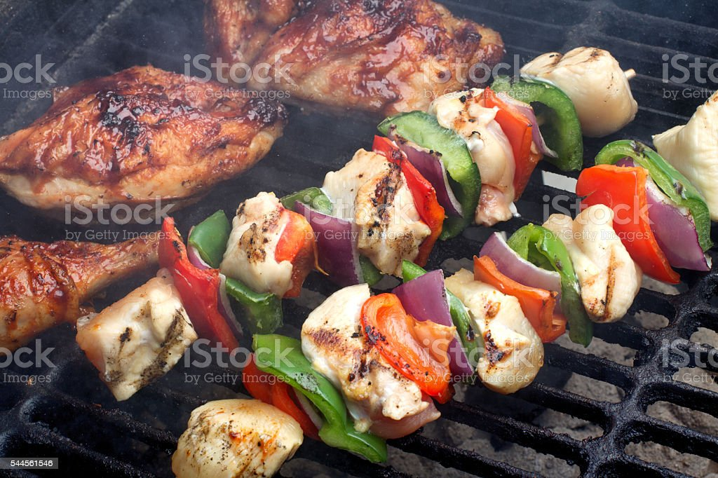 Grilled Chicken And Kabobs On The Grate stock photo