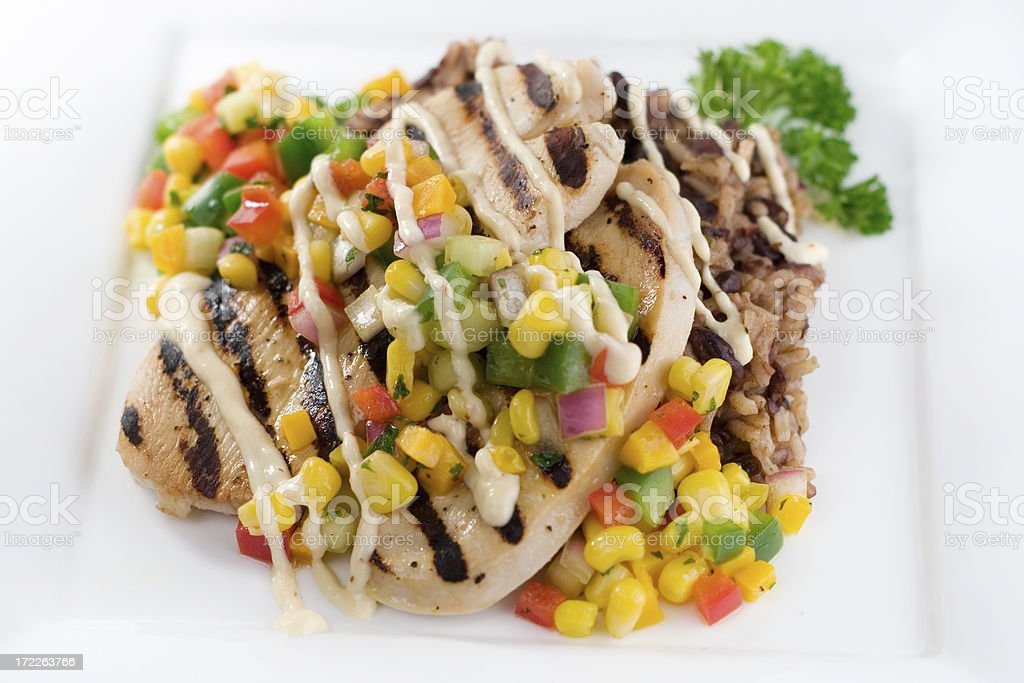 Grilled Chicken and Mango Salsa royalty-free stock photo