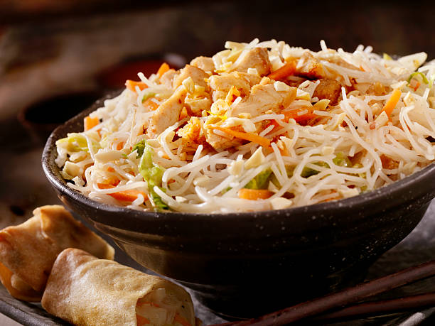Grilled Chicken and rice noodles Grilled Chicken and Rice noodles with Carrots, Cabbage and a Spring Roll -Photographed on Hasselblad H1-22mb Camera rice noodles stock pictures, royalty-free photos & images
