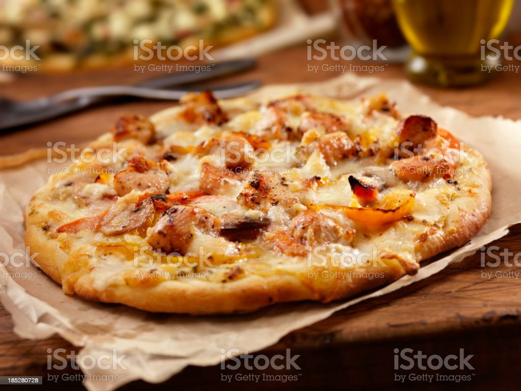 Grilled Chicken and Roasted Pepper Pizza stock photo