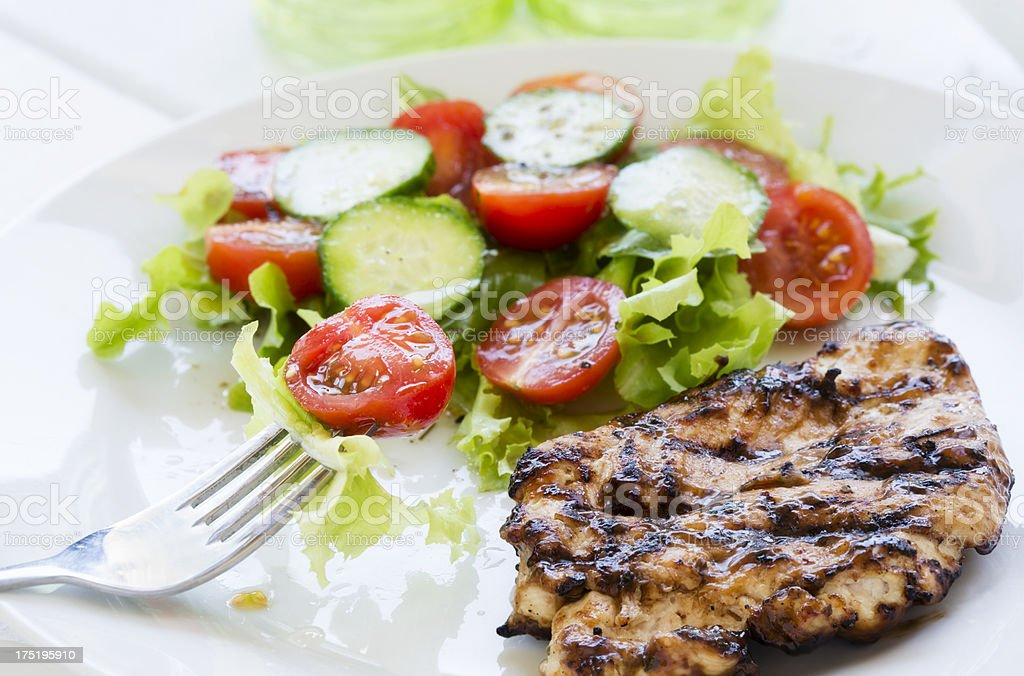 Grilled chicken and salad royalty-free stock photo