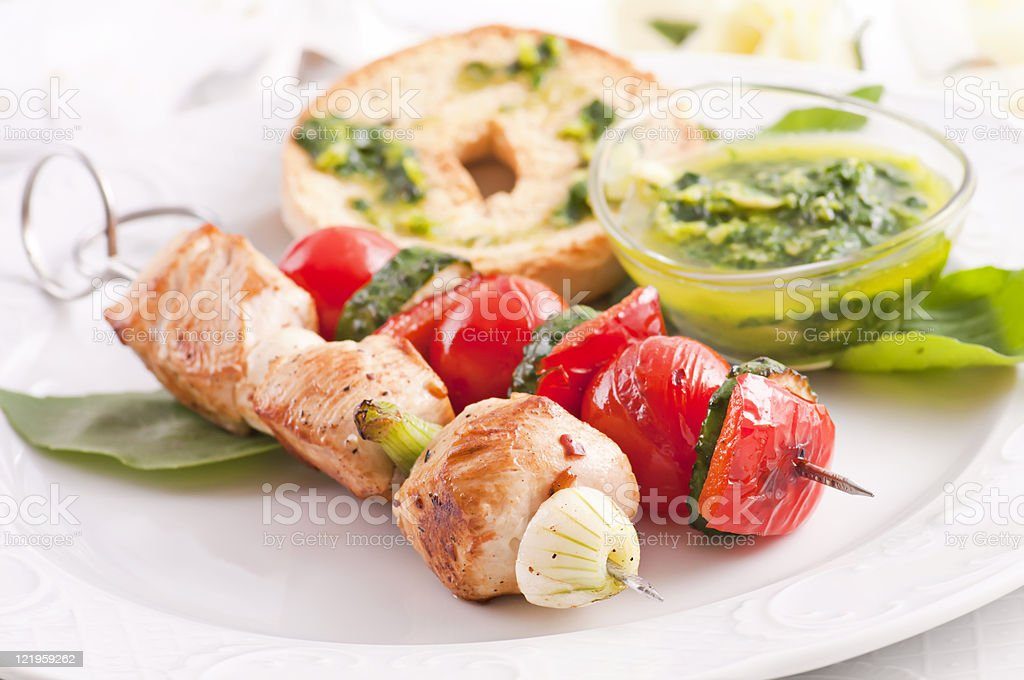 Grilled Chicken and Vegetable Skewer royalty-free stock photo