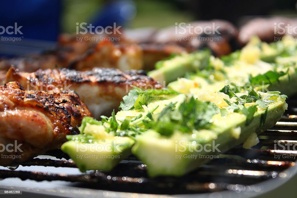 Grilled chicken and zucchini with parsley royalty-free stock photo