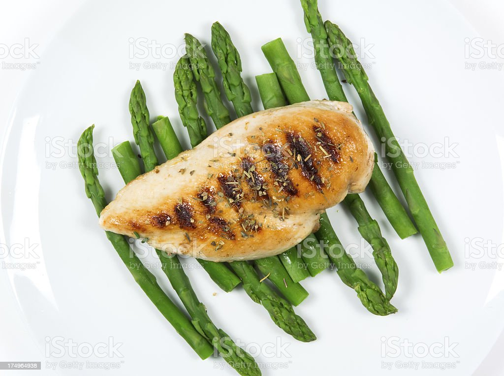Grilled chicken breast and asparagus royalty-free stock photo