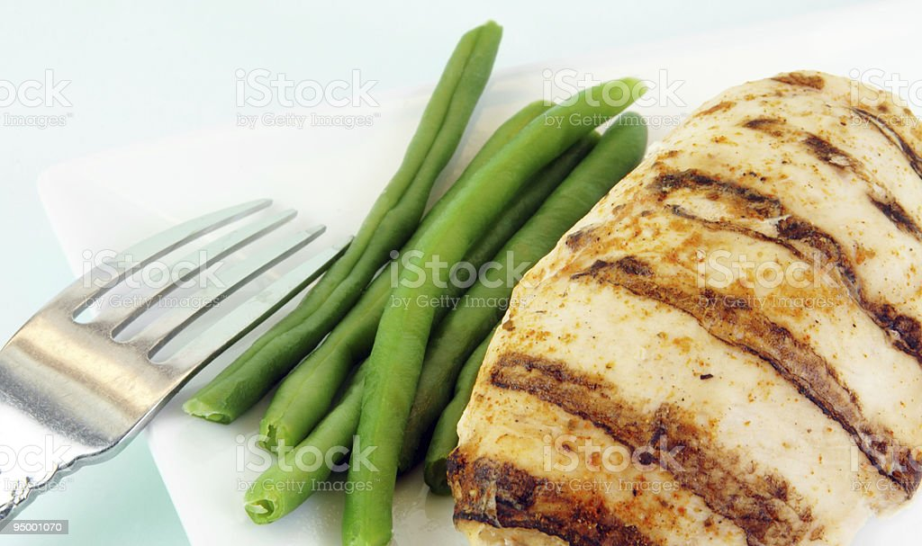 Grilled Chicken Breast and Green Beans royalty-free stock photo