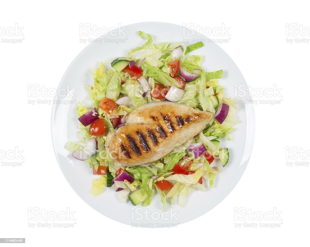 Grilled chicken breast and salad royalty-free stock photo