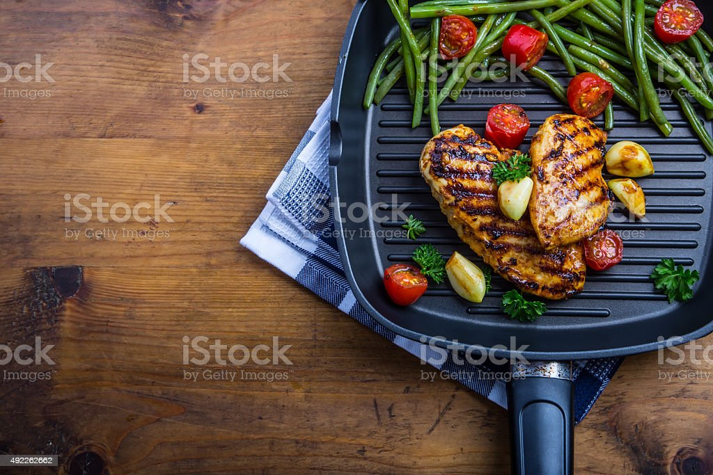 Grilled chicken breast in different variations stock photo