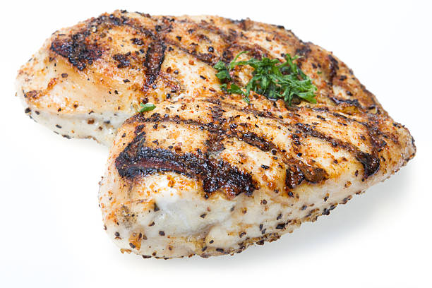 Grilled Chicken Breast Grilled Chicken Breast isolated on white grilled chicken breast stock pictures, royalty-free photos & images