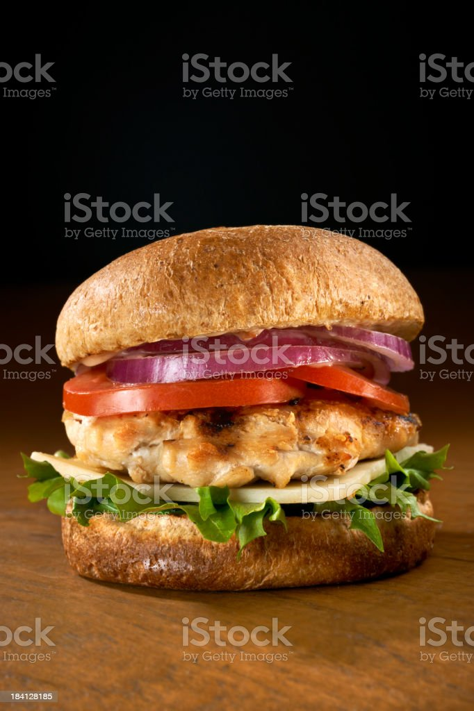 Grilled Chicken Breast Sandwich with the works stock photo