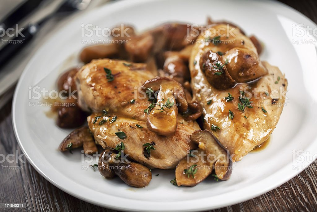 Grilled chicken breast with mushrooms stock photo