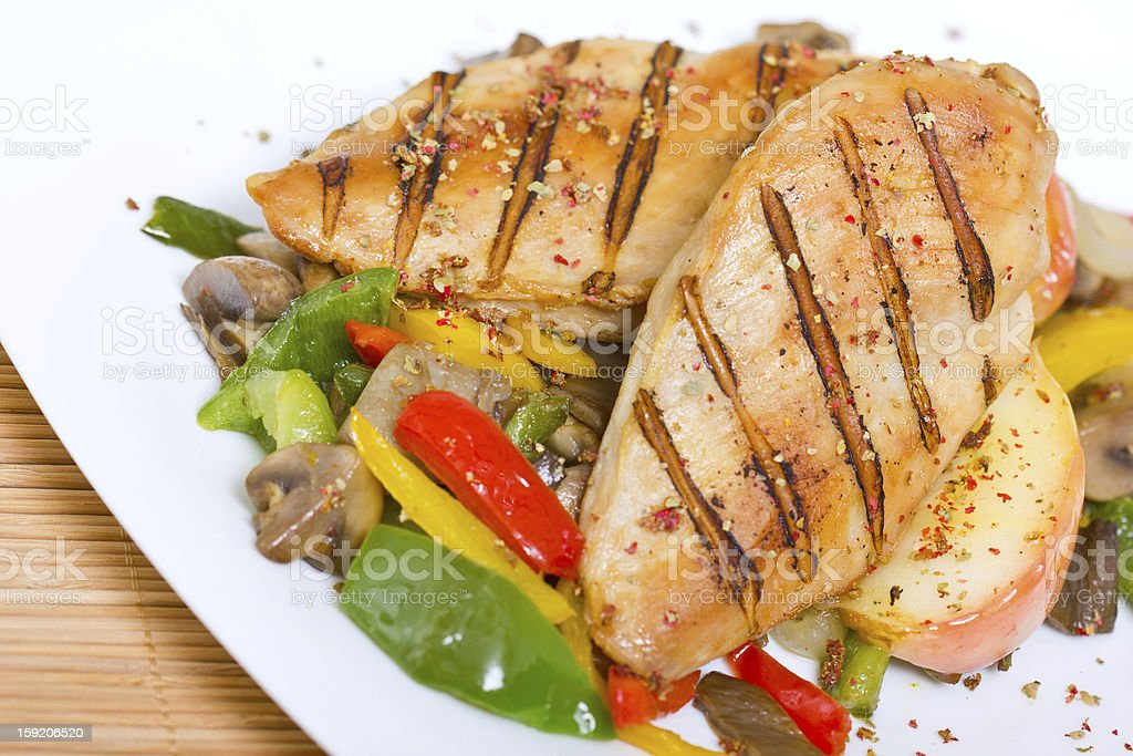 Grilled chicken breast with vegetables royalty-free stock photo