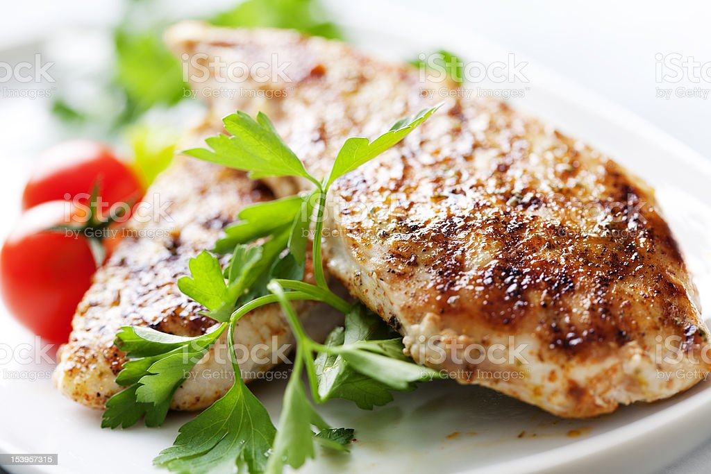 grilled chicken brest fillet stock photo