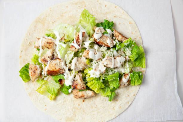 Grilled Chicken Caesar Wrap stock photo