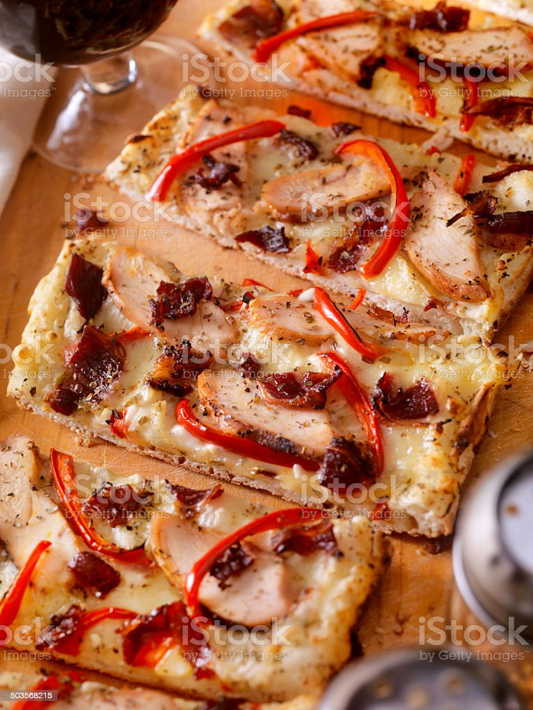 Grilled Chicken Carbonara Flatbread Pizza stock photo