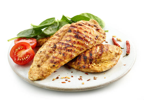 grilled chicken fillet meat grilled chicken fillet on white plate isolated on white background grilled chicken breast stock pictures, royalty-free photos & images