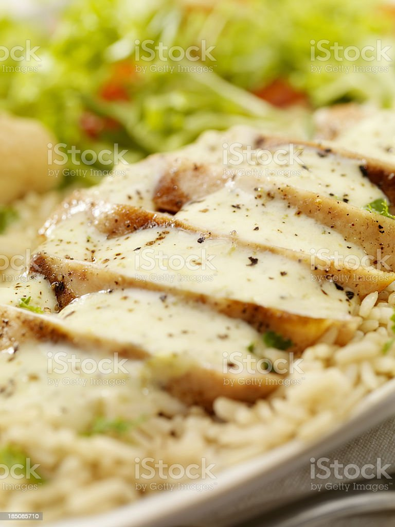 Grilled Chicken in a Cheese and Broccoli cream Sauce royalty-free stock photo