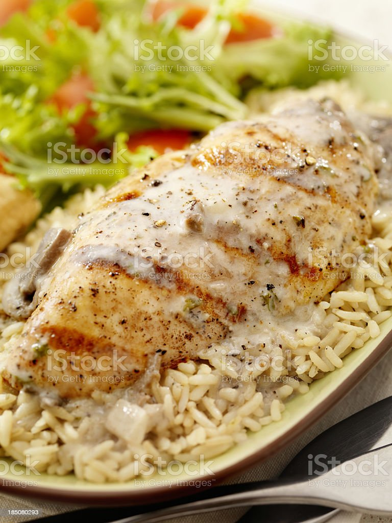 Grilled Chicken in a Mushroom Sauce royalty-free stock photo